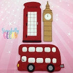 London Play Set for Dress Up dolls  - Embroidery Design 5x7 hoop or larger